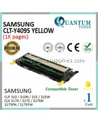 Samsung CLT-Y409S / CLTY409S High Quality Compatible Color Toner Yellow for CLP310 CLP310N CLP 315 CLP-315 CLP315 CLP315W CLP 315W CLP-315W CLX3170 CLX3175 CLX3175N CLX 3175N CLX-3175N CLX3175FN CLX3175FW CLX 3175FW CLX-3175FW Printer Ink