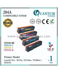 ( Full Set ) HP 204A / CF510A Black + CF511A Cyan + CF512A Yellow + CF513A Magenta High Quality Compatible Laser Toner For HP LaserJet Pro M154 / M154a / M154nw / M180 / MFP M180n / MFP M180nw / MFP M181fw Printer Ink