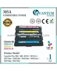 ( Full Set ) HP 305A / CE410A Black + CE411A Cyan + CE412A Yellow + CE413A Magenta High Quality Compatible Laser Toner For HP LaserJet Pro 300 / Pro 400 / M351 / M351 M351A / M375 M375nw / M451 M451dn / M451dw / M451nw / M475 M475dn / M475dw Printer Ink