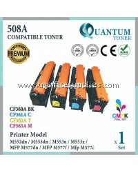 ( Full Set ) HP 508A / CF360A Black + CF361A Cyan + CF362A Yellow + CF363A Magenta High Quality Compatible Laser Toner For HP LaserJet Enterprise M552 M552dn / M553 M553dn / M553n / M553x / M577 MFP M577dn / MFP M577f / MFP M577c  Printer Ink