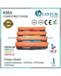 ( Full Set ) HP 650A / CE270A Black + CE271A Cyan + CE272A Yellow + CE273A Magenta High Quality Compatible Laser Toner For HP LaserJet Enterprise CP5525 / 5525 / CP5525n / CP5525dn / CP5525xh Printer Ink
