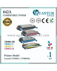 ( Full Set ) HP 642A / CB400A Black + CB401A Cyan + CB402A Yellow + CB403A Magenta High Quality Compatible Laser Toner For HP Colour LaserJet CP4005n / CP4005dn Printer Ink