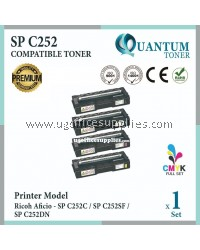 ( Full Set ) Ricoh SP C252 / SPC252 / SPC 252 Black + Cyan + Yellow + Magenta High Quality Compatible Laser Toner For SPC252 SP C252 SPC 252 / SPC252C SPC252SF SPC252DN / SP C252C SP C252SF SP C252DN / SPC 252C SPC 252SF SPC 252DN Printer Ink
