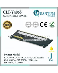 Samsung 406 406S CLT-Y406S CLT-406S YW High Quality Compatible Laser Toner Yellow Cartridge for Samsung CLP360 CLP365 CLP-365w CLP365w CLX3305 CLX-3305fn CLX3305fn CLX-3305fw CLX3305fw SL-C410w SLC410w SL-C460fw SLC460fw SL-C460w SLC460w Printer Ink